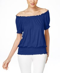 Inc International Concepts Smocked Waist Off Shoulder Peasant Blouse Only At Macy's Goddess Blue