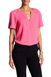 Trina Turk Split V Neck Short Sleeve Blouse Pink