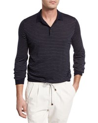 Brunello Cucinelli Fine Gauge Wool Cashmere Striped Long Sleeve Polo Shirt Navy