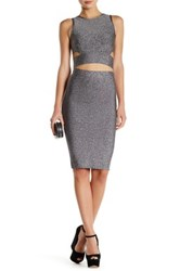 Gracia Melange Crop Top And Skirt Gray