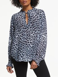 Lily And Lionel Mitchell Animal Print Blouse Safari Denim