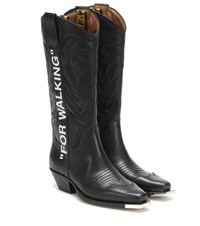 Off White For Walking Leather Cowboy Boots Black