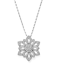 Bloomingdale's Diamond Flower Cluster Pendant Necklace In 14K White Gold 1.50 Ct. T.W. 100 Exclusive