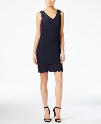 Armani Exchange Scalloped Shift Dress Blue