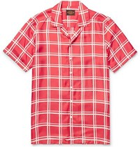 Tod's Camp Collar Checked Silk Twill Shirt Red