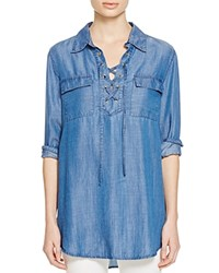 Prive Lace Up Chambray Shirt Medium Indigo