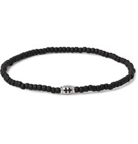 Luis Morais Glass Bead And Silver Tone Bracelet Black