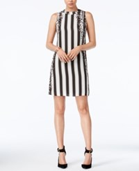 Bar Iii Striped Shift Dress Only At Macy's Black Combo