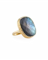 Nakamol Adjustable Labradorite Cocktail Ring Gray