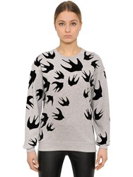 Mcq By Alexander Mcqueen Swallow Flocked Cotton Jersey Sweatshirt