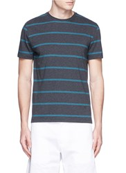 Isaia Stripe Intarsia Cotton T Shirt Grey