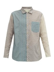 By Walid Tristan Panelled Floral Print Cotton Shirt Blue Multi