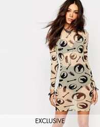 Noisy May X Bloody Noisy Sheer Bodycon Dress With All Over Wolf Print White