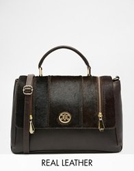 Ri2k Leather Bag With Pony Hair Panel Brown