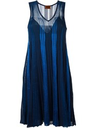 Missoni Pleated Knit Dress Blue