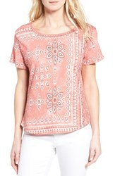 Caslonr Women's Caslon Print Crinkle Cotton Blend Top Pink Blossom Starflower Print