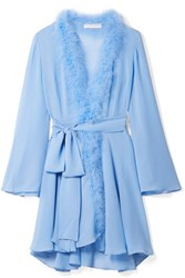 Rosamosario Peter Pan Feather Trimmed Crystal Embellished Silk Georgette Robe Sky Blue