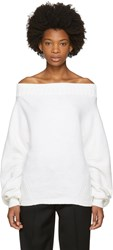 Opening Ceremony White Wool Off The Shoulder Sweater