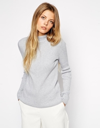 Asos Jumper In Rib With Turtle Neck Grey
