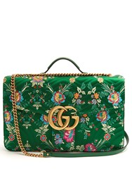 Gucci Gg Marmont Maxi Floral Jacquard Shoulder Bag Green Multi
