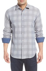 Bugatchi Shaped Fit Check Linen Blend Sport Shirt Stone