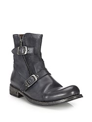 John Varvatos Brixton Leather Moto Zip Boots Lead