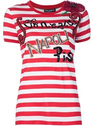 Dolce And Gabbana Embellished Striped T Shirt Red