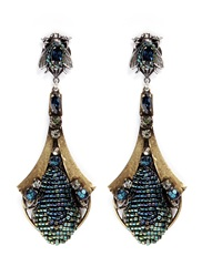 Miriam Haskell Crystal Insect Drop Earrings Metallic Multi Colour