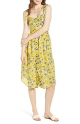 Moon River Floral Button Front Sundress Yellow Floral