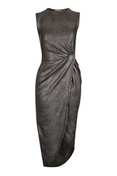 Wal G Sleeveless Metallic Knot Dress By Gunmetal