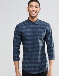 Asos Skinny Shirt In Blackwatch Check With Long Sleeves Green