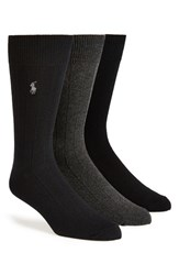 Polo Ralph Lauren Men's Ribbed Crew Socks Black Charcoal Navy