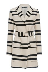 French Connection Escher Stripes Belted Mac Cream