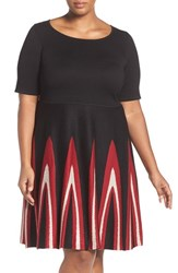 Gabby Skye Plus Size Women's Fit And Flare Sweater Dress