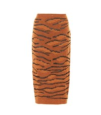 Stella Mccartney Tiger Camouflage Knitted Skirt Brown