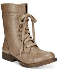 Rampage Jeliana Lace Up Combat Booties Women's Shoes Taupe