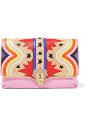 Paula Cademartori Sylvie Suede Trimmed Leather Clutch Baby Pink