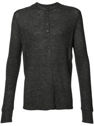 Ovadia And Sons Henley Jumper Men Cotton Cupro Merino Xl Grey