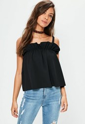 Missguided Black Gathered Cami Vest Top