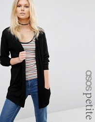 Asos Petite Cardigan In Fine Knit Black