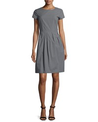 Lafayette 148 New York Gina Short Sleeve Pleated Dress Rock Women's
