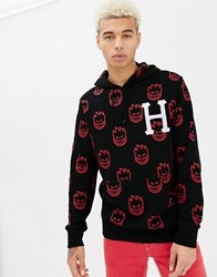 Huf X Spitfire All Over Logo Print Hoodie With Embridered Logo In Black
