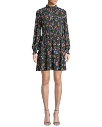 Kate Spade Meadow Smocked Waist Mini Dress Black