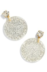 J.Crew Acrylic Disc Drop Earrings Metallic Silver