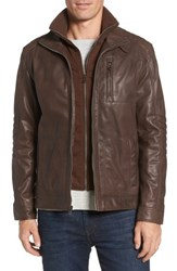 Cole Haan Men's Washed Leather Moto Jacket With Knit Bib Brown