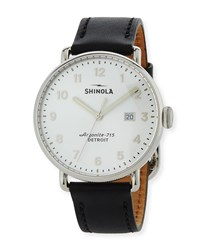 Shinola Men's 43Mm Canfield Leather Strap Watch Silver