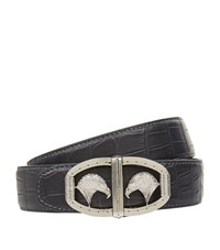 Stefano Ricci Matte Crocodile Belt Unisex Dark Grey