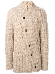 Ann Demeulemeester Button Up Knitted Cardigan Nude Neutrals