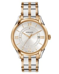 Versace Apollo Two Tone Bracelet Watch Rose Golden Silver