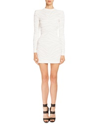 Balmain Long Sleeve Crewneck Tiger Striped Dress White
